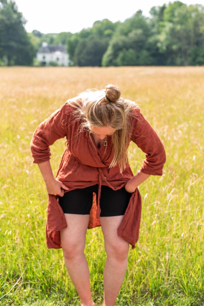 The Veggie Reporter in haar natuurlijke habitat met het broekje van de HEMA